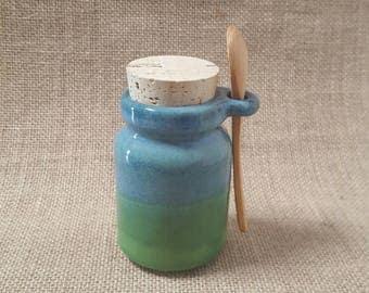 Handmade Ceramic Storage Jar - Blue Green
