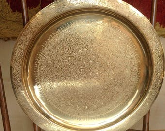 Oriental Moroccan Side Table Tea Brass Tray Foldable Arabian Orient  Handcrafted