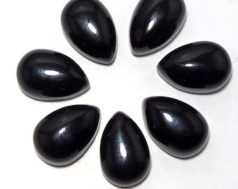 25 PCS Wholesale Lot Black onyx 4x6 mm Pear shape Loose Gemstone Cabochon wholesale price-Best deal-Handpicked Gemstones