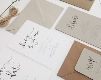 Iris    Wedding Day Invitation Suite, Minimal Wedding Stationery, Handmade Wedding Invitations, Modern Calligraphy Wedding Invite Suite