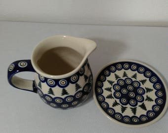Boleslawiec Handmade in Poland Pottery Pitcher and Plate Green Trees with Blue, Red and White Dots