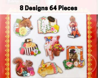 70 Cute Party Animals Gold Foil Stickers (Chicken Baby, Pig, Bunny, Dog, Squirrel, Horse, Sheep, Owl)