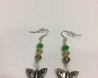 Large Butterfly earrings with multi-colored crystals