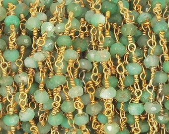 50% off 5 Feet Beautiful Chrysoprase Beaded Chain 3.5-4mm Rosary Chain, Chrysoprase Beaded 24K Gold Plated Wire Wrapped Chain CH165