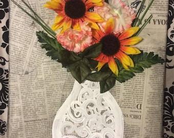 Rustic Newspaper Wrapped 3D Flower Vase Painting Original