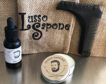 Hand Crafted Beard Kit - Beard Oil, Beard Balm & Shaping Comb