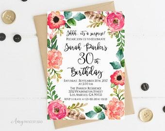 30th Birthday Invitation, Floral Women Birthday Invitation, Garden Birthday Invite, Any Age, PERSONALIZED, Digital file, #W40