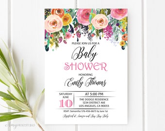 baby shower invitation floral baby shower invite delicate baby shower invite