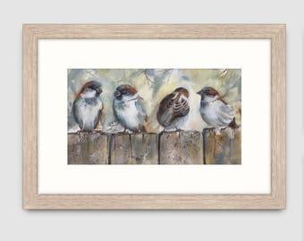 "Sparrows print of original watercolour painting, 9""x5"" or mounted to fit 12""x8"" frame, bird print, australian bird art, wildlife art"