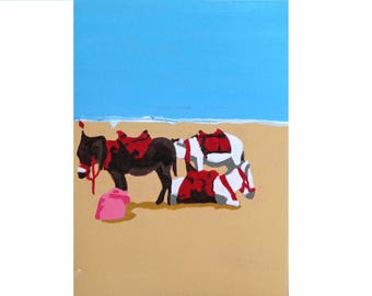 ACEO Original Painting: Donkeys on the Beach