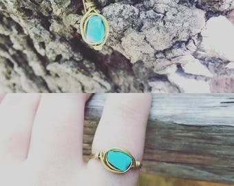 Gold wrapped Turquoise
