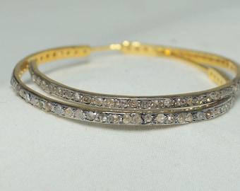 Victorian style rose cut diamonds sterling silver 40mm open hoops earrings - SKU PJER210