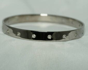 Boho Style 1.80 cts. good quality pave diamonds oxidized sterling silver wide flat broad Bracelet non hinged stackable bangle