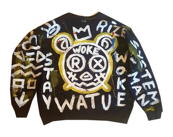 XL Black Hand Painted Sweat Shirt