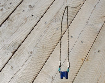 Lapis, White, and Turquoise Howlite Necklace