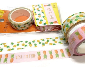 Pineapple Washi Tape, Fruit washi tape, Washi tape, 2 Pack washi tape, Decorative tape, Masking tape, Washi tape pineapple,scrapbooking tape