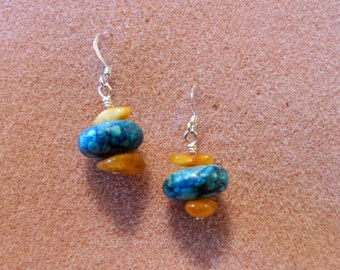 Genuine Turquoise and Amber Drop Earrings