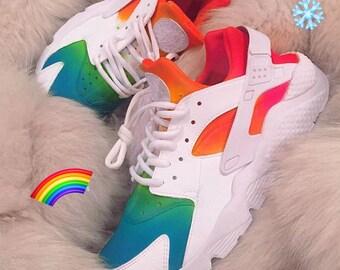 Custom ombré rainbow mesh white Nike huaraches