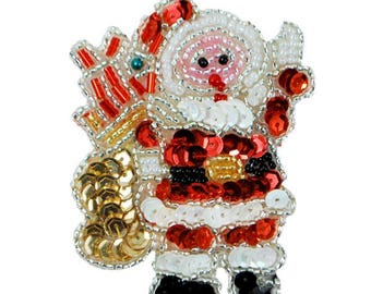 Expo Santa with Gifts Christmas Sequin Applique