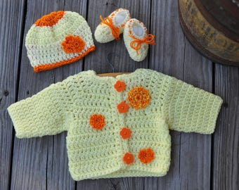 Crochet Baby Girl Sweater Set Yellow Orange