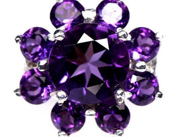 Ring in 925 silver plated gold amethysts