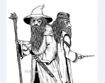 Gandalf & Dumbledore Medium Print