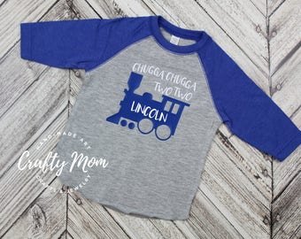 Chugga Chugga Two Two Train Toddler Boy's Birthday Shirt, Raglan, Baseball Tee