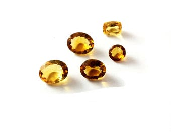 Citrin faceted gemstone 6 to 12mm