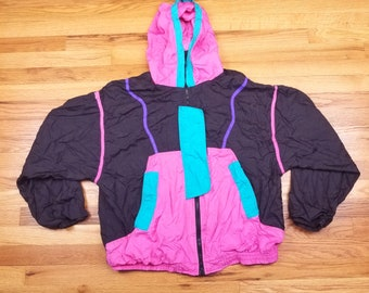 Vintage 80s Neon Hot Pink Purple Vaporwave Windbreaker Jacket tracksuit Size XL