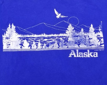 Vintage 80s 1983 Alaska Double Sided Graphic T shirt Eagle Forest Mountains Size XL