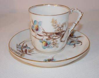C H Field Haviland Limoges blue Flowers on White Porcelain Demitasse Cup Saucer #365