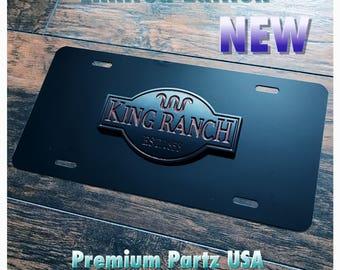 Ford King Ranch 3D License Plate Custom Aluminum New F150 F250 3D Emblem 2 Colors F150 F250 F350 Raptor SVT Matte Logo Black