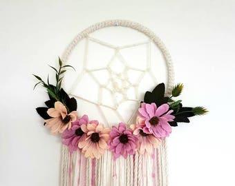 Pink floral dream catcher,Floral dream catcher, wedding dream catcher, floral, girly dream, girl dream catcher, floral nursery, baby shower