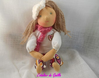 Chloe mini Waldorf Pocket doll, 19 cm, OOAK