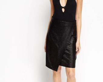 Women's Metallic Painted Wrap Mini Skirt