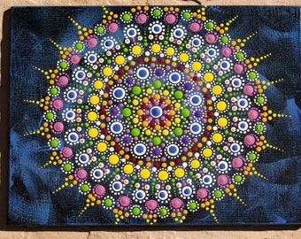 Rustic Blue Mandala Jewel Original dot art painting acrylic on canvas board