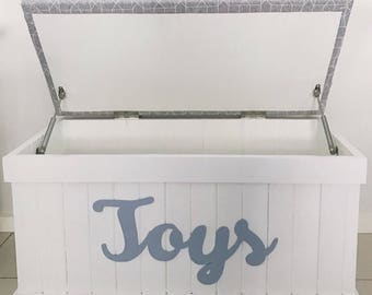 Childrens Personlised Toybox, Toy box, Toyboxes, Birthday Gift Idea, Baptism, Premium Foam Seat, Choice of Colour and Font