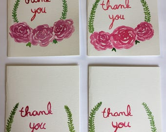 Original handmade watercolor rose thank you cards