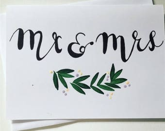 Handpainted Mr and Mrs Wedding Card - Engagement Card - Floral Wedding