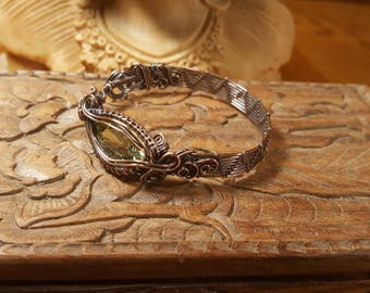 Citrine Czech Glass Copper Wire Bracelet