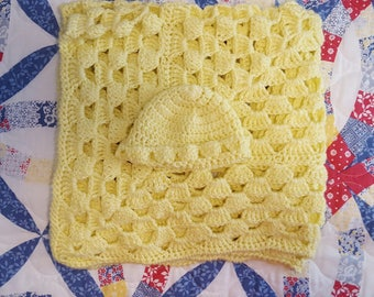 Lemon Yellow Crochet Baby Blanket with Hat, Baby Afghan, Nursery