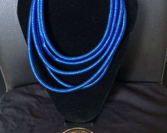 African Bridal Statement necklace - 5 tube Blue silk