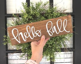 fall wood sign-hello fall-fall mantle-hand painted wood sign-rustic fall decor-fall sign-rustic sign-farmhouse decor