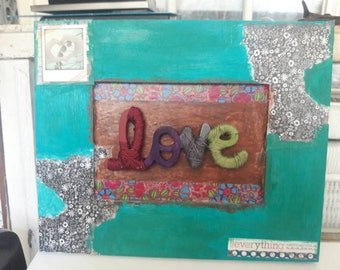Upcycled LOVE picture frame
