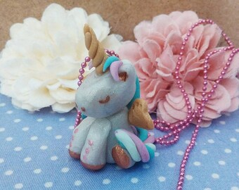 winged Unicorn rainbow of cold porcelain necklace / gift girl