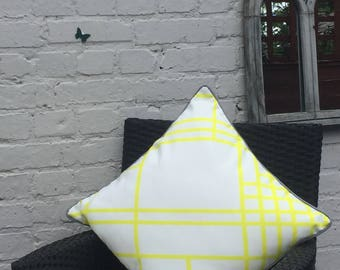 Geometric Yellow Large Striped Outdoor Cushion Cover