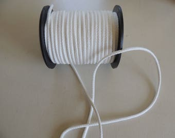 Cord 5 mm wide white cotton