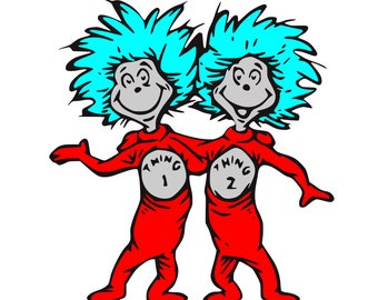 Thing 1 and Thing 2 SVG / Cut File / Cricut / Silhouette /  Cameo / paper crafting / paper cutting