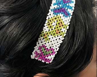 Hand made head band, beaded head band, ** MEXICAN CULTURE**Multicolor flowers**