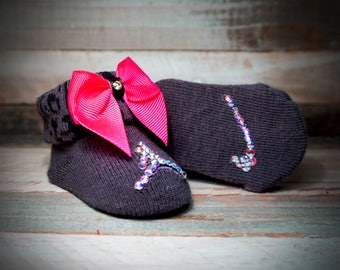 Genuine Swarovski Crystal Baby Shoe/Booties with Matching Ho Pink Zebra Bow Headband